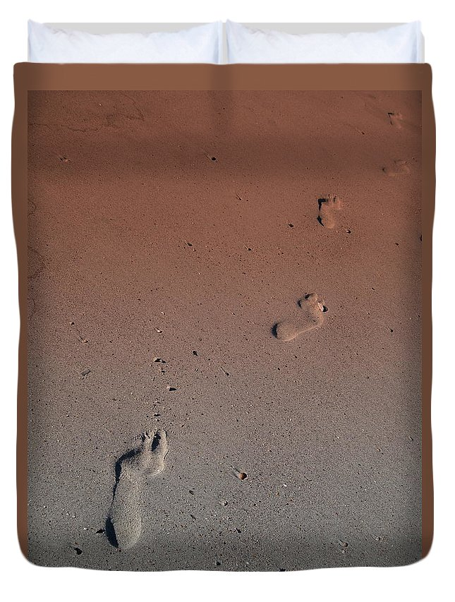 Foot Print Photos Duvet Cover featuring the photograph Foot Prints On The Beach by Susanne Van Hulst