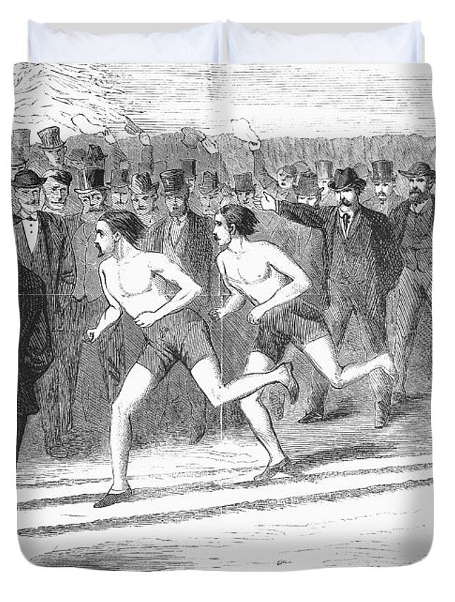1868 Duvet Cover featuring the photograph Foot Race, 1868 by Granger