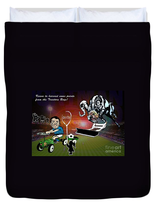 Duvet Cover featuring the painting Football Derby Rams Against Ipswich Tractor Boys by Miki De Goodaboom