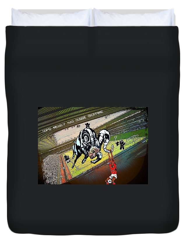 Football Calendar 2009 Derby County Football Club Nottingham Forest Artwork Miki Duvet Cover featuring the painting Football Derby Rams Against Nottingham Forest Red Dogs by Miki De Goodaboom