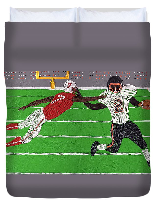 Football Duvet Cover featuring the painting Football Running Back by Martin Jimenez