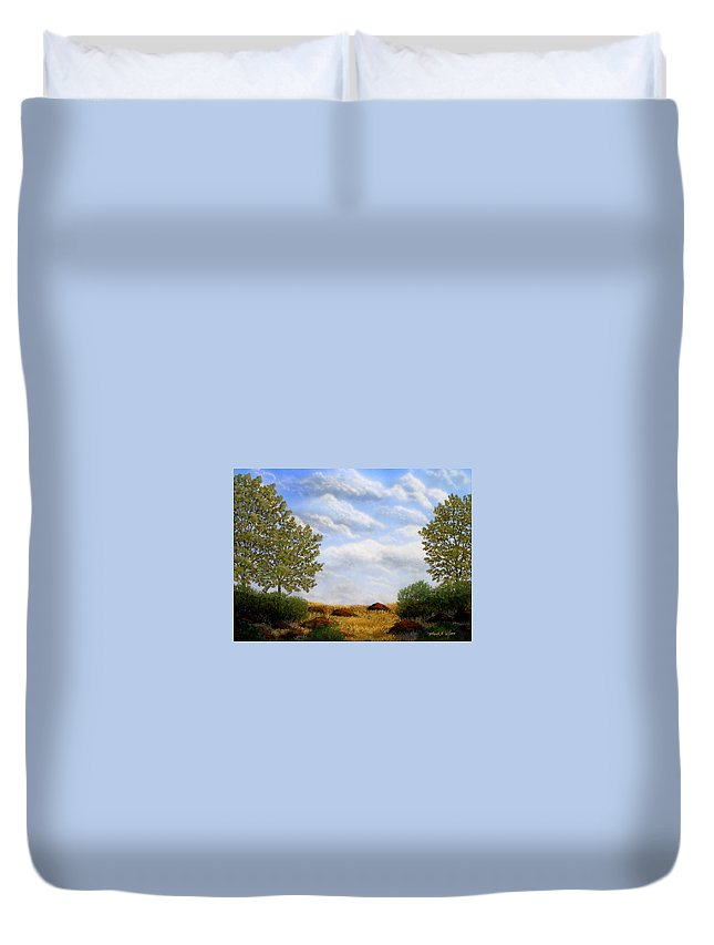 Landscape Duvet Cover featuring the painting Foothills Afternoon by Frank Wilson