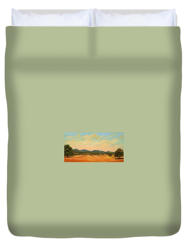 Landscape Duvet Cover featuring the painting Foothills by Frank Wilson