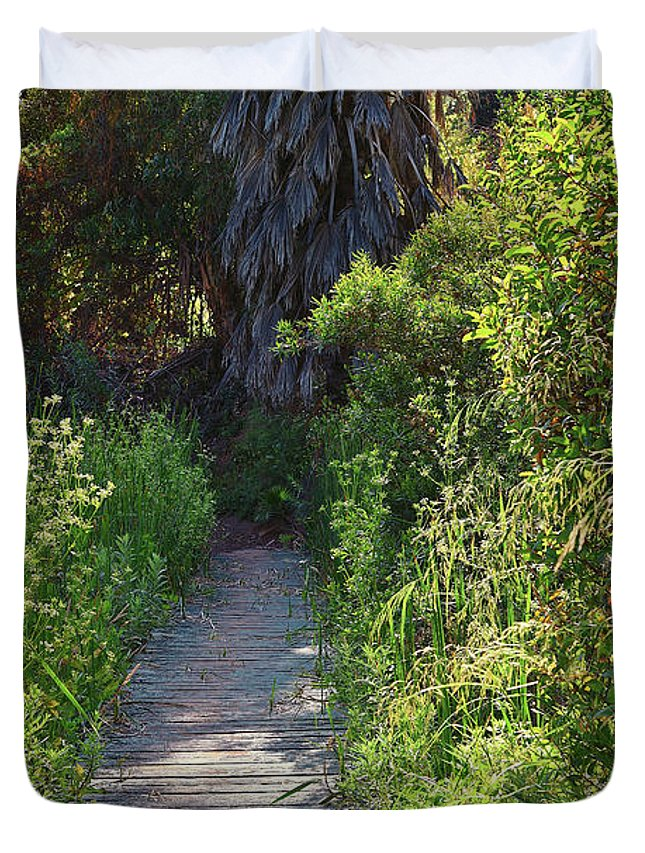 Linda Brody Duvet Cover featuring the photograph Footpath In Peters Canyon I by Linda Brody