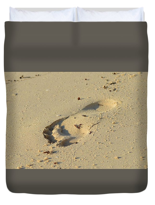 Florida Duvet Cover featuring the photograph Footprint In The Sand by Dave Masters