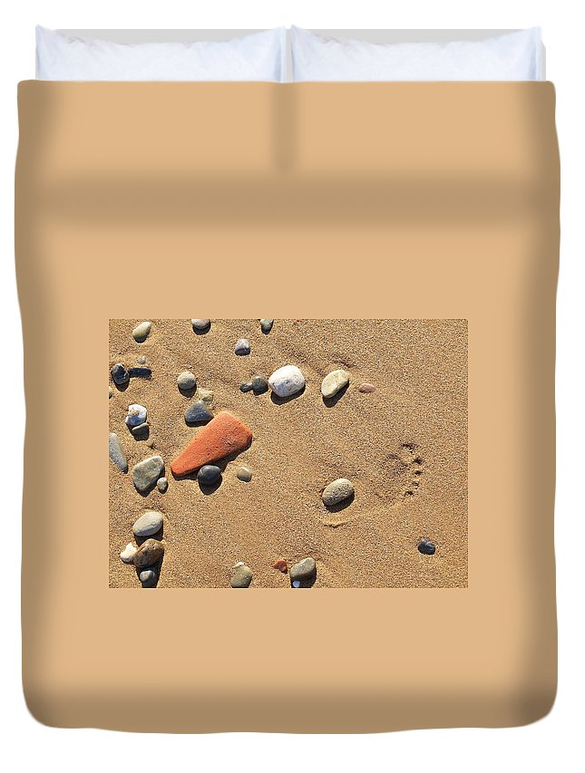 Beach Duvet Cover featuring the photograph Footprint On Sand by Jouko Lehto