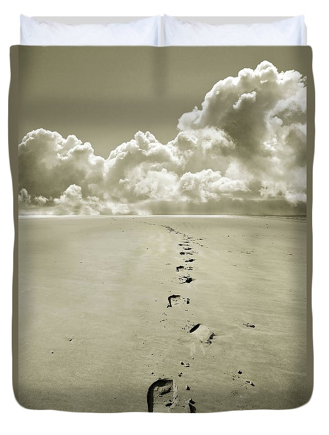 Footprints Duvet Cover featuring the photograph Footprints In Sand by Mal Bray