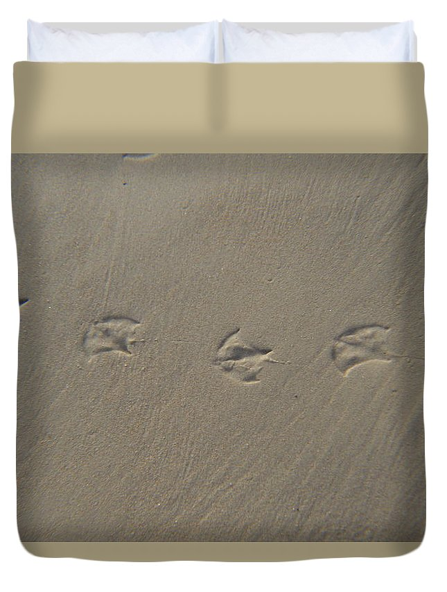 Footprints Duvet Cover featuring the photograph Footprints In The Sand by Cynthia Bailey