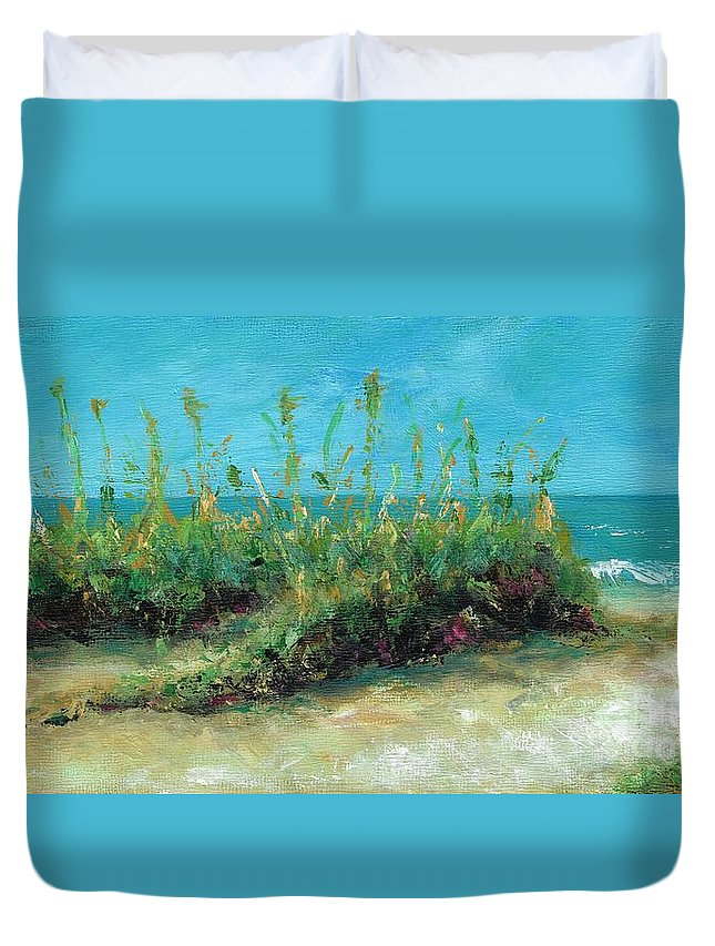 Beaches Duvet Cover featuring the painting Footprints In The Sand by Frances Marino