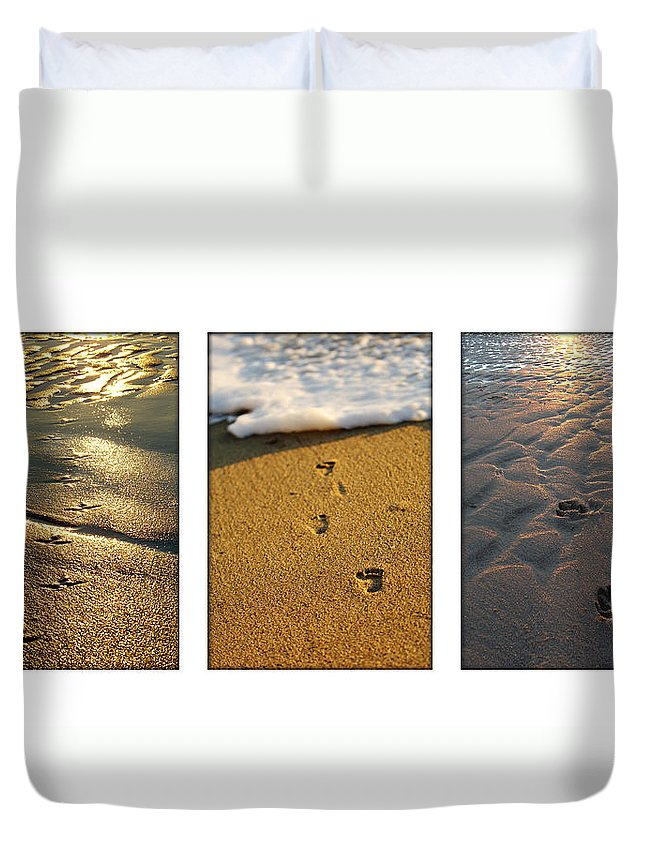 Beach Duvet Cover featuring the photograph Footprints In The Sand by Jill Reger