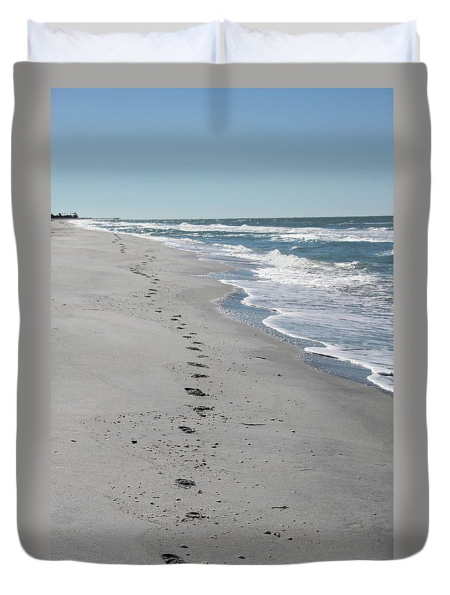 Footsprints Duvet Cover featuring the photograph Footsprints In The Sand by Christiane Schulze Art And Photography
