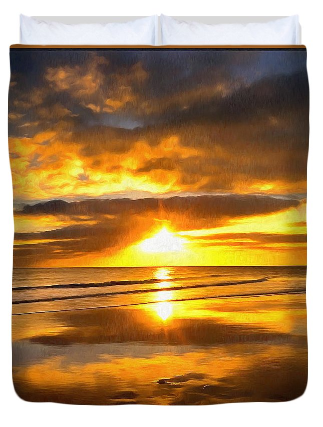 Coastal Duvet Cover featuring the digital art Footsteps Beneath The Sunset I by Ronald Bolokofsky