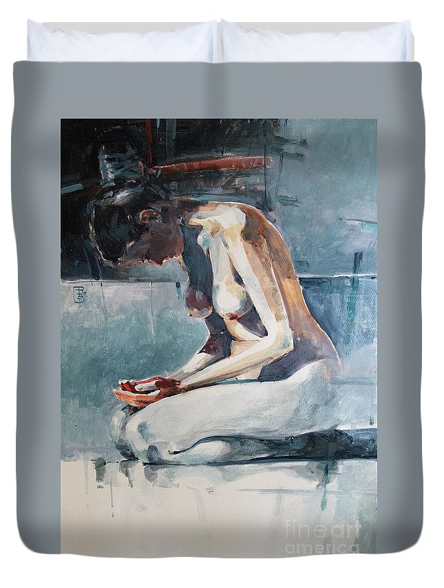 Watercolour Duvet Cover featuring the painting for Eliza by Tony Belobrajdic