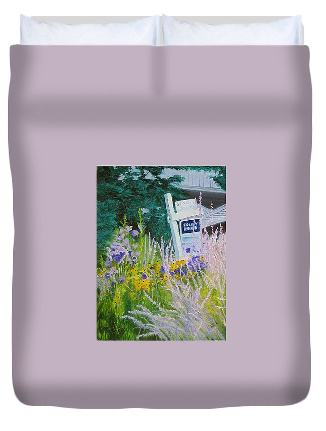 Landscape Duvet Cover featuring the painting For Sale - A Patch Of Paradise by Lea Novak