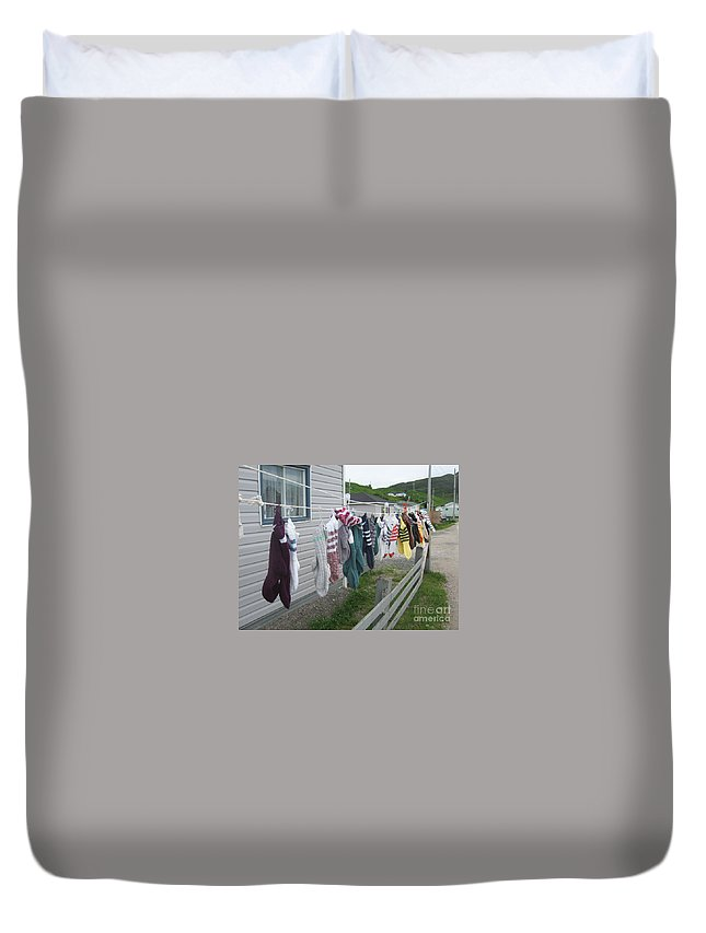 Knitted Socks Newfoundland Duvet Cover featuring the photograph For Sale by Seon-Jeong Kim