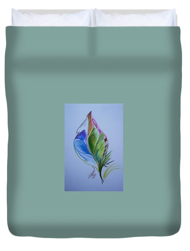 Abstract Duvet Cover featuring the drawing For Starters by Suzanne Udell Levinger