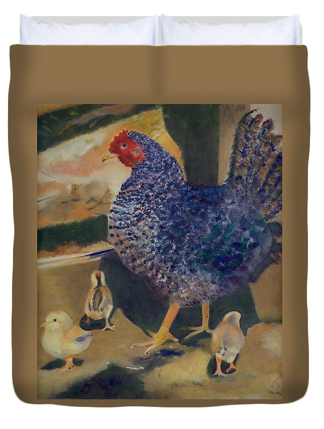 Animal Duvet Cover featuring the painting For The Birds by Paula Emery