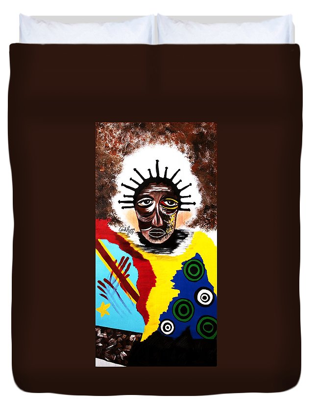 Congo Duvet Cover featuring the painting For The Women Of The Congo by Carla J Lawson