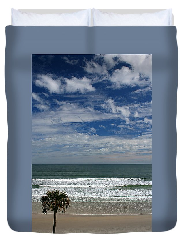Beach Sky Cloud Clouds Blue Water Wave Waves Palmtree Tree Palm Sand Sun Sunny Vacation Travel Duvet Cover featuring the photograph For Your Pleasure by Andrei Shliakhau