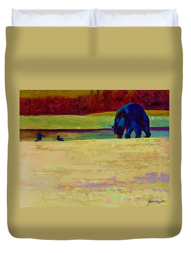 Bear Duvet Cover featuring the painting Foraging At Neets Bay - Black Bear by Marion Rose