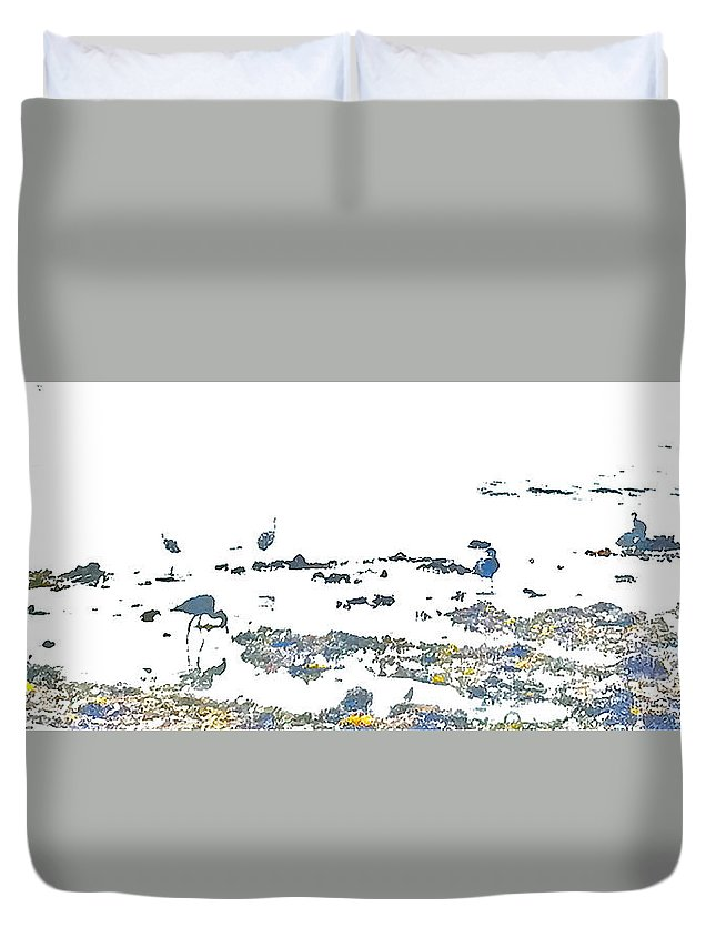 Seagulls Duvet Cover featuring the photograph Foraging Gulls by Heidi Peschel