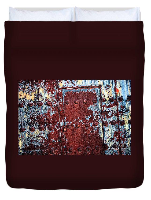 Rust Duvet Cover featuring the photograph Forbidden Door by Carol Groenen