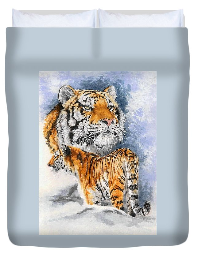 Big Cats Duvet Cover featuring the mixed media Forceful by Barbara Keith