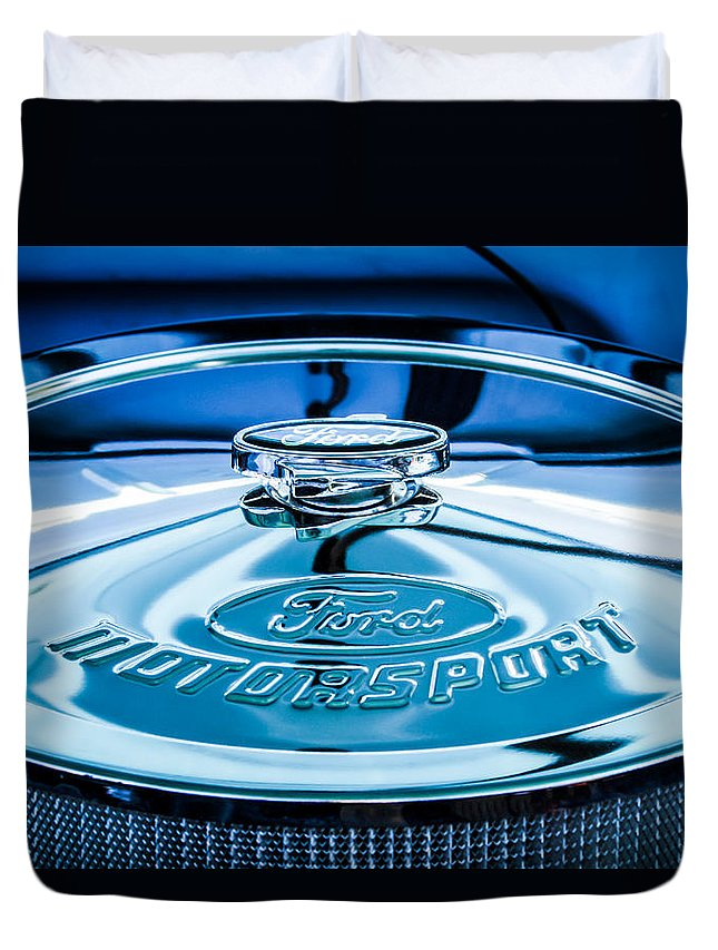 Ford Motorsport Air Filter Duvet Cover featuring the photograph Ford Air Filter Lid by Jill Reger