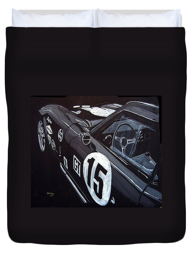 Ford Cobra Racing Coupe Duvet Cover featuring the painting Ford Cobra Racing Coupe by Richard Le Page