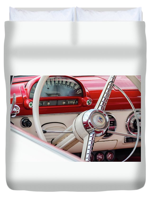 Gaetano Chieffo Duvet Cover featuring the photograph Ford Crown Victoria Stering Wheel by Gaetano Chieffo