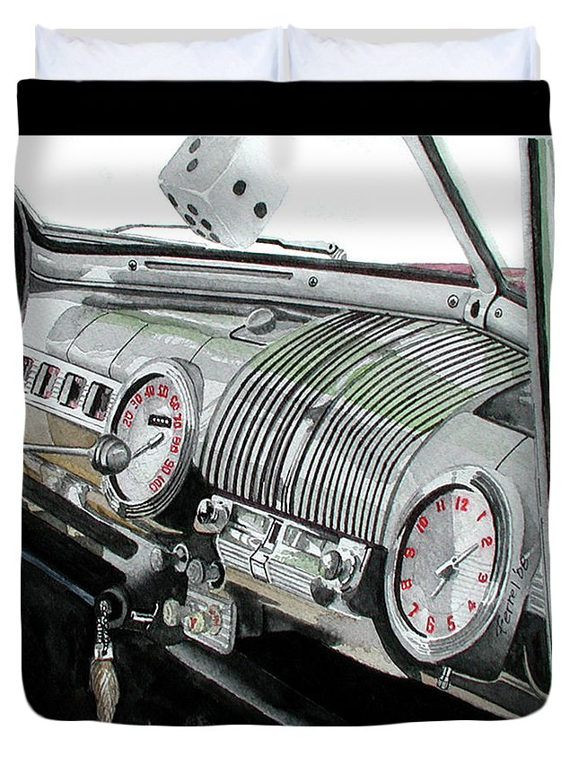 Car Duvet Cover featuring the painting Ford Dash by Ferrel Cordle