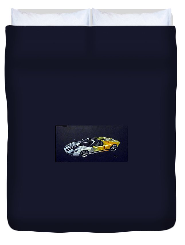 Ford Duvet Cover featuring the painting Ford Gt Concept by Richard Le Page