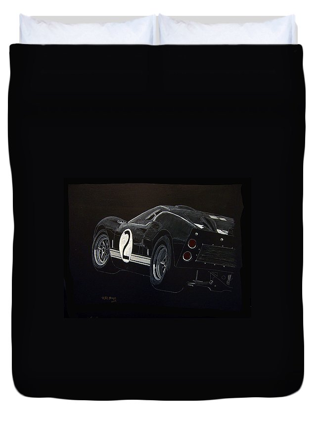 Ford Duvet Cover featuring the painting Ford Gt40 Racing by Richard Le Page