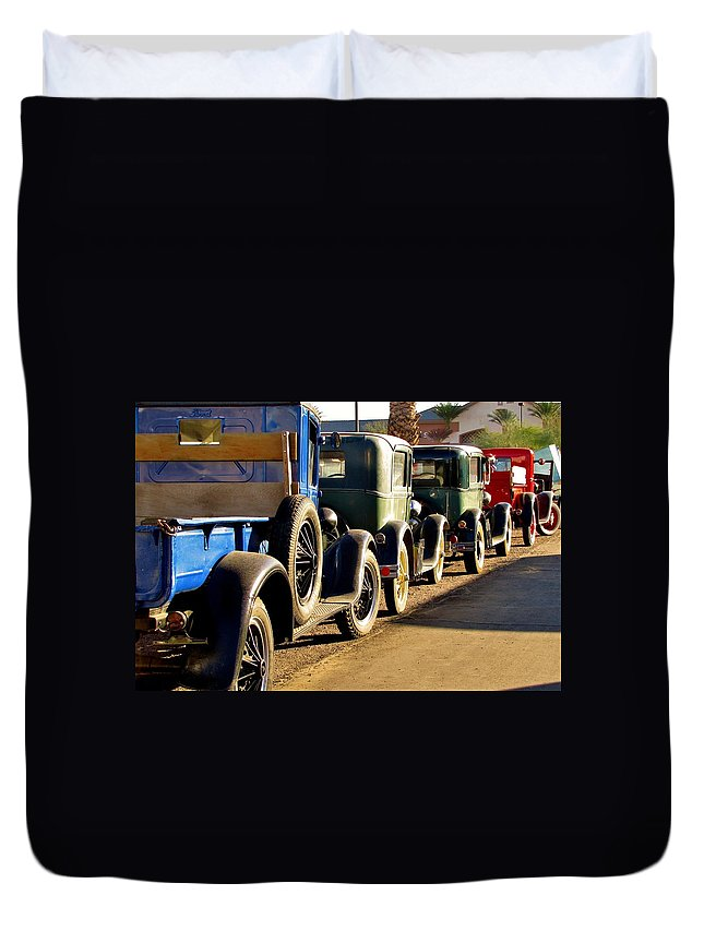 Vintage Fords Duvet Cover featuring the photograph Ford Lineup by Marilyn Smith