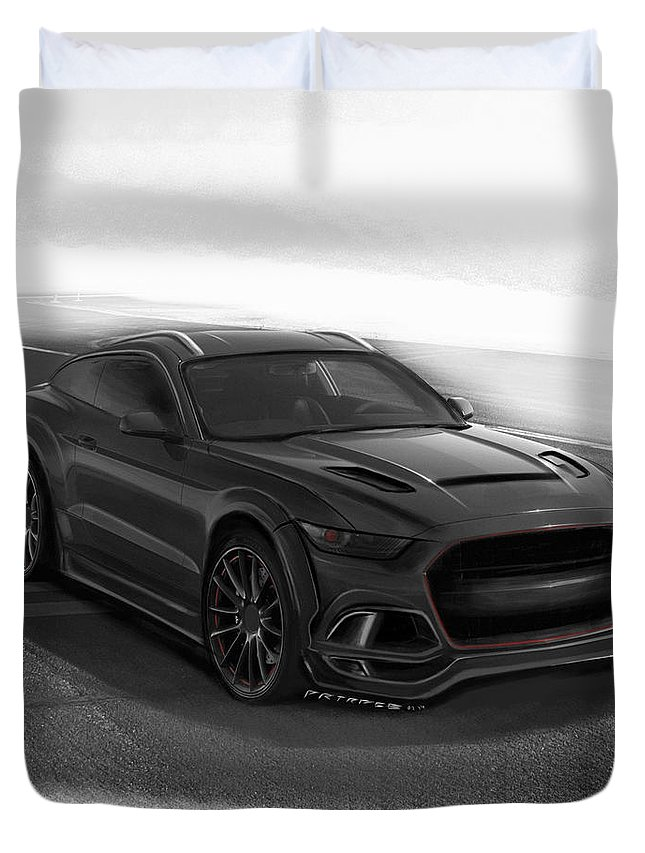 Ford Duvet Cover Featuring The Digital Art Ford Mustang Suv By Artrace By Artem Sinitsyn