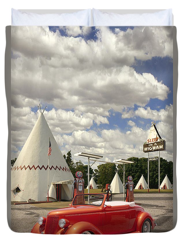 Ford Roadster Duvet Cover featuring the photograph Ford Roadster At An Indian Gas Station by Mike McGlothlen