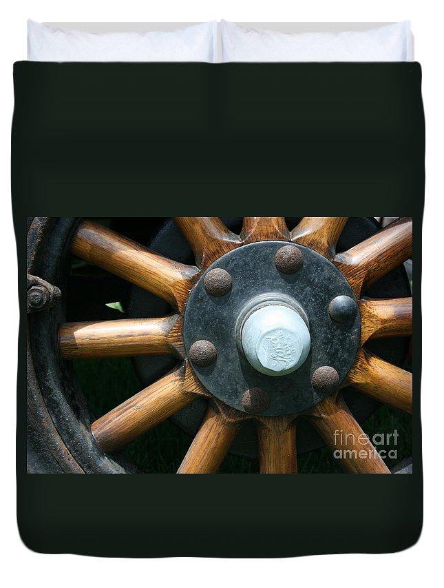 Wagon Duvet Cover featuring the photograph Ford Wagon Wheel by Dawn Downour