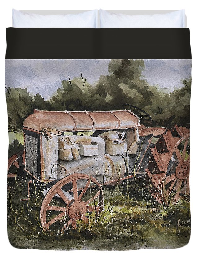 Farm Duvet Cover featuring the painting Fordson Model F by Sam Sidders