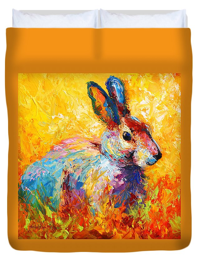 Rabbit Duvet Cover featuring the painting Forest Bunny by Marion Rose
