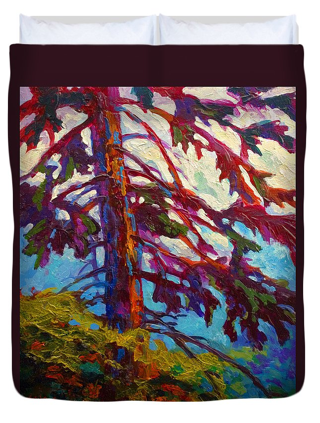 Trees Duvet Cover featuring the painting Forest Elder by Marion Rose