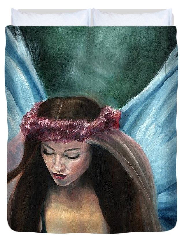 Fairy Duvet Cover featuring the painting Forest Fairy Queen by Rhiannon Smith