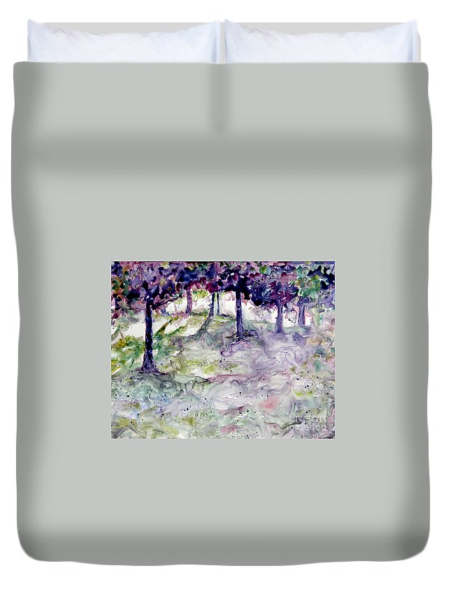 Fastasy Duvet Cover featuring the painting Forest Fantasy by Jan Bennicoff