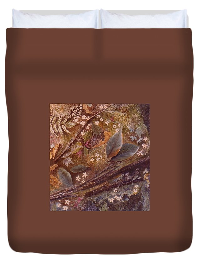 Leaves; Forest; Flowers Duvet Cover featuring the painting Forest Floor by Ben Kiger