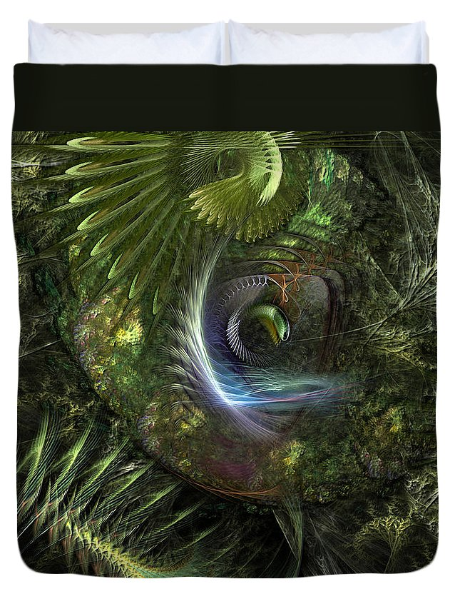Abstract Duvet Cover featuring the digital art Forest Floor Fantasy by Casey Kotas