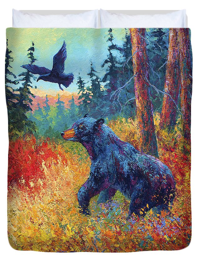 Black Duvet Cover featuring the painting Forest Friends by Marion Rose