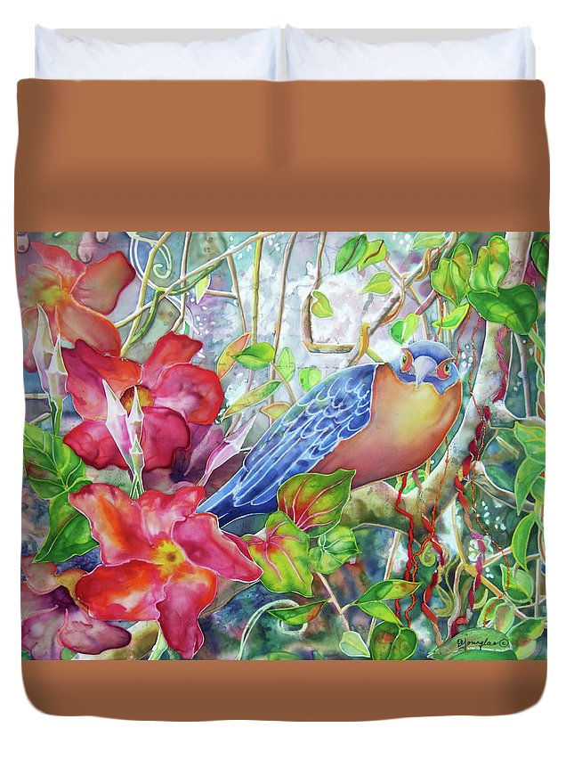 Bird Duvet Cover featuring the painting Forest Guardian by Deborah Younglao
