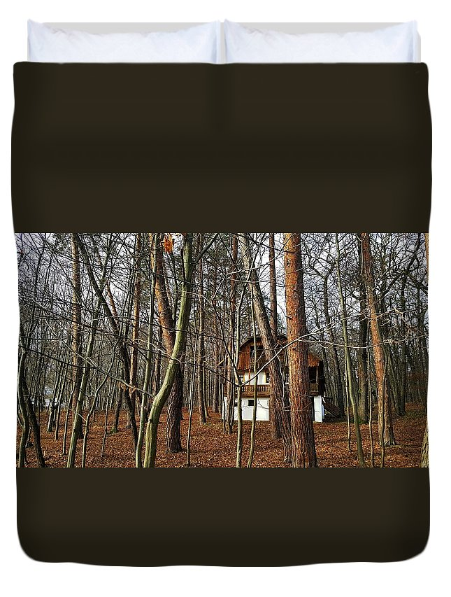 Mountain Duvet Cover featuring the photograph Forest House by Irenne Themba