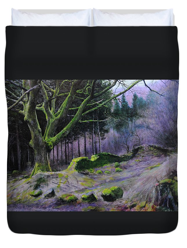 Landscape Duvet Cover featuring the painting Forest In Wales by Harry Robertson