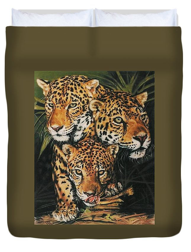 Jaguar Duvet Cover featuring the pastel Forest Jewels by Barbara Keith
