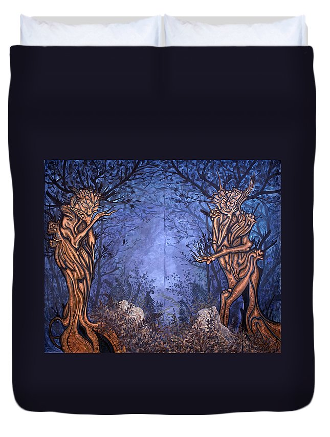 Mystic Duvet Cover featuring the painting Forest by Judy Henninger